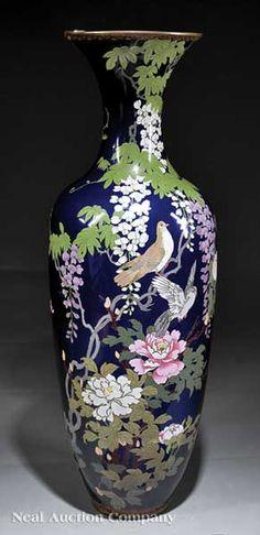 Japanese Cloisonné Enamel Vase, early c. Japanese Vase, Japanese Porcelain, Japanese Ceramics, Japanese Pottery, Fine Porcelain, Porcelain Ceramics, Glazes For Pottery, Pottery Vase, Flower Vases