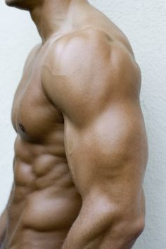 Male torso showing superb external oblique and serratus magnus (right under the biceps)