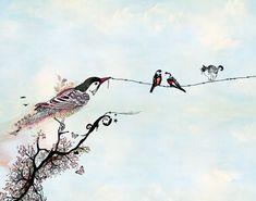 Birds on a wire Love birds art Drawing & van lizkapiloto op Etsy, $24.00