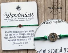 Wanderlust Bracelet Travel Bracelet Compass by TrueCharm on Etsy
