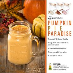 Summer has officially come to a close and as we are waving goodbye to beaches and bbq's we saying hello to our FALL inspired #310shake recipes. We on the look out this week for new fall inspired 310 shakes. We are starting off with Pumpkin Pie Paradise! Finally, a yummy pumpkin flavored shake that you don't have to feel bad about enjoying! #310shake