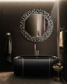 This unique mirror is inspired in the Tortoises hard outer shell. It's made of high gloss black lacquered wood that contrasts with hexagonal Anthracite, Nero Marquina and Yellow Triano marble details. This glamorous pattern makes this piece easy to combine in different luxurious environments Click on the picture! Luxury Bathtub, Luxury Mirror, Dark Bathrooms, Amazing Bathrooms, Unique Mirrors, Dark Interiors, Bathroom Furniture, Bathroom Ideas, Contemporary Interior