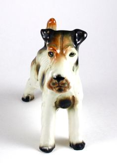 Dog Wire Fox Terrier Porcelain Plate w// Display Stand