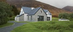This contemporary style dwelling house is situated within a sheltered site located along the Conor Pass Route. The site is an integral part of the naturally rugged landscape, nestling along the lower slopes of Mount Brandon, behind and within mature hedgerows and ditches.