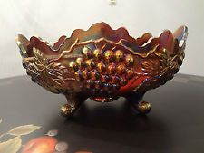 Northwood Grape & Cable Banana Boat Footed Amethyst Carnival Glass Excellent