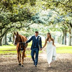 The bride and groom holding hands while walking with their horse. Horse Wedding Photos, Wedding Fotos, Wedding Pictures, Wedding Couple Poses Photography, Horse Photography, Horse Couple, Pictures With Horses, Victoria Wedding, Melbourne Wedding