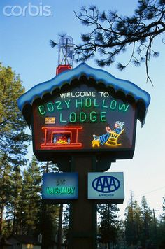 Neon Sign at Cozy Hollow Lodge