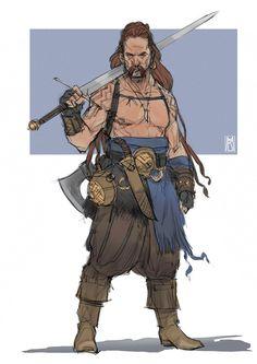 Norseman - color sketch, Borislav Mitkov on ArtStation. Fantasy Character Design, Character Creation, Character Design Inspiration, Character Art, Game Character Design, Fantasy Warrior, Fantasy Rpg, Medieval Fantasy, Warrior Concept Art