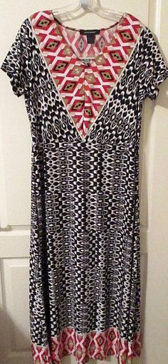 b65e5f3a334db ASHLEY STEWART size 14 16 knit maxi dress short sleeve red-black tan multi