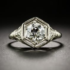 1.03 Carat Art Deco Diamond Engagement Ring - GIA K/VS2 - 10-1-6863 - Lang Antiques