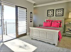 Adore combining distressed grey with a pop of fuchsia ... #coachbarn #design #greybedroom