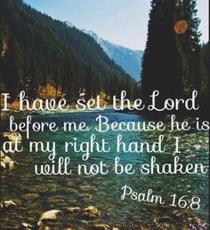 Psalm 16:8 I have set the Lord always before me: because he is at my right hand, I shall not be moved.