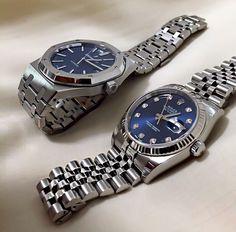 Audemars Piguet Royal Oak 15400 Steel Blue Dial & Rolex Datejust II Steel