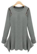 Grey Long Sleeve Zipper Embellished Asymmetrical T-Shirt