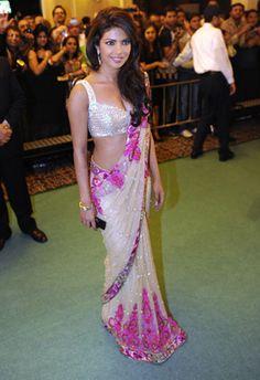 pink and cream sari