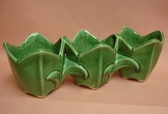 Vintage McCoy Green Tulip Planter