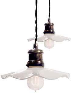 Ruffled Milk Glass Pendent Lamp