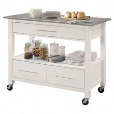 Expand your kitchen's functionality with the Acme Furniture Ottawa Portable Kitchen Island Cart , boasting a stylish white finish and smooth. White Kitchen Cart, White Kitchen Island, Kitchen Tops, Buy Kitchen, Kitchen Ideas, Kitchen Racks, Kitchen Appliances, Kitchen Pantry, Kitchen Inspiration