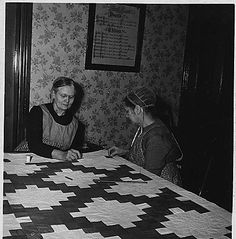 Lancaster County, Pennsylvania. These two Church Amish women are engaged in quilting. Quilting bee . . ., 03/20/1941