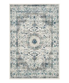 Another great find on #zulily! Gray & Ivory Floral Distressed Rug #zulilyfinds
