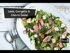 A wonderful summer salad that can be whipped up in barely any time. You can cook it on the BBQ to get that charred flavour, or you can easily pan-fry bo Summer Salads, Lamb, Fries, Bbq, Cook, Meals, Canning, Vegetables, Zucchini