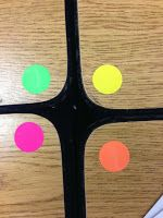 I do many things with these dots, but never considered using them on tables, chairs or folders to make group!  Green group get supplies. Yellow group get papers. Cool!
