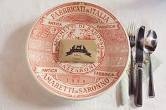 Plate Place Setting Seed Favours Custom Stamp Vintage Quirky Budget Village Hall DIY Wedding http://myfabulouslife.co.uk/