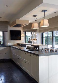 Open Plan Kitchen Living Room, New Kitchen, Kitchen Decor, Dining Room Design, Interior Design Kitchen, Coffee Bar Home, Küchen Design, Home Kitchens, Sweet Home