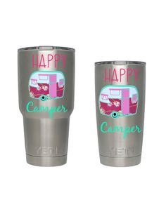 Happy Camper Yeti tumbler decal Camper decal Vinyl by DrinkBliss