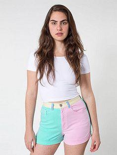Color Block Stretch Bull Denim High-Waist Cuff Short