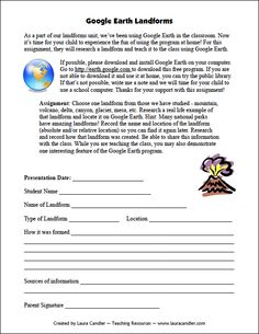 Google Earth Landforms project freebie from Laura Candler