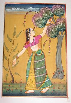 Indian miniature painting - women in garden by AshKothari, via Flickr