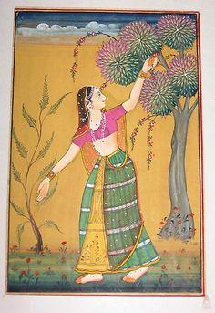 Indian miniature painting - women in garden by AshKothari, via Flickr