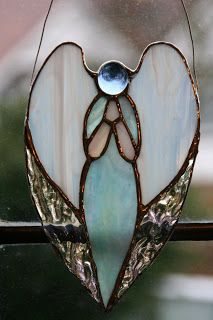 Chiaki's work: Stained Glass Ornament-Angel Heart 1