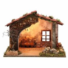 Illuminated nativity stable, rustic style - Nativity Diy How to Make Christmas Crib Ideas, Christmas Program, Christmas Projects, Christmas Village Houses, Christmas Nativity Scene, Christmas Scenes, Nativity Scenes, Nativity Stable, Diy Nativity