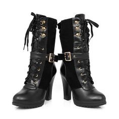Image of [grxjy5190284]Lace Up Buckles Mid Calf Block High Heel Shoes Motorcycle Boots