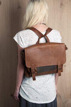 Brown saddle retro satchel bag. student backpack for her, School bag, leather bag, gift, laptop bag, messenger bag for women, briefcase