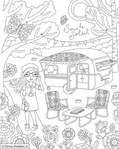 Camping Coloring Page For Flow Magazine By Silvia Dekker