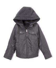 Dark Charcoal Hooded Patch-Pocket Jacket - Toddler & Boys