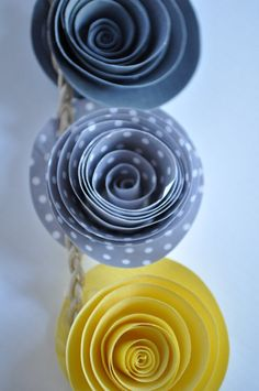 Paper Flower Garland Yellow and Gray Garland Party by lillesyster
