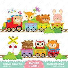 Woodland Animals Train Digital Clipart por SSGARDEN en Etsy