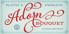Adorn is an enormous and intimate collection of Hand crafted uneven style - seven display fonts, four script designs, monograms, ornaments, illustrations, banners, frames, and catchwords #awesome in the right circumstances