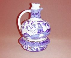 RARE VINTAGE BLUE WILLOW COFFEE/TEA POT WITH CANDLE WARMER BASE MADE IN JAPAN #BlueWillow