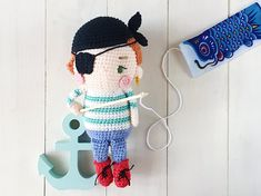 Saltwater Sally the friendly pirate girl amigurumi crochet pattern by amigurumei