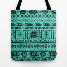 Turquoise Tribal Pattern Tote Bag