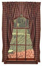 1 Pr Old Glory Plaid Primitive Country Home Lined Prairie Curtains 72 W