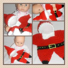 Schmuse- Puppe gehäkelt Weihnachtsmann crochet doll lovey