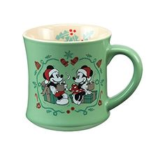 Vandor 89261 Disney Mickey & Minnie Mouse Holiday 12 Ounce Fluted Ceramic Mug, Green Unique fluted shape Made from high quality stoneware Bold and bright character design Dishwasher and microwave safe Full color gift box Disney Dishes, Disney Cups, Mickey Mouse Gifts, Mickey Minnie Mouse, Disney Christmas, Christmas Mugs, Disney Holidays, Christmas Kitchen, Happy Holidays