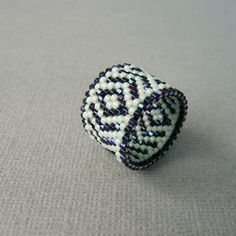 Graphic Woven Seed Bead Ring Size 5.5 by SoukySuz on Etsy, $30.00