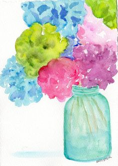 Hydrangeas painting ART in Aqua Mason jar by SharonFosterArt, $25.00
